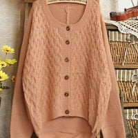 Vintage Retro Women's Knit Casual Loose Cardigan Sweaters Jumper Tops Outwear (Apricot)
