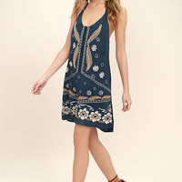 O'Neill Ellison Teal Blue Embroidered Halter Dress