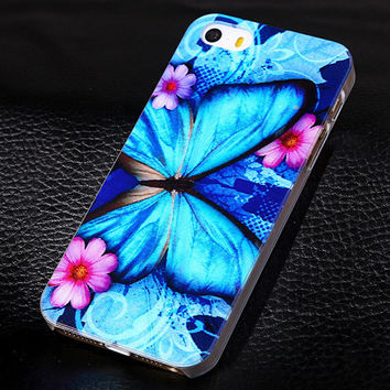 Blue butterfly phone case for iphone 5 5s SE  + Nice gift box 072702