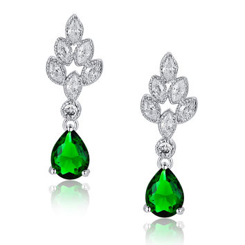 Teardrop and Marquise Cubic Zirconia Leaf Earrings (Green)
