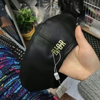 """Dior"" Fashion All-match Classic Logo Letter Leather Beret Cap Women Hat Painter Cap"