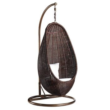 Fine Mod Imports Rattan Hanging Chair with Stand, Chocolate Rattan