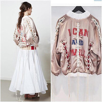 Sports Hot Deal On Sale Jacket Ladies Ripped Holes Alphabet Print Thicken Women's Fashion Baseball [9476045636]