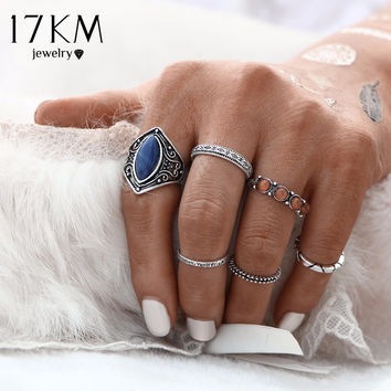 17KM 2016 New Fashion 6pcs/Set Midi Ring Sets Boho Beach Vintage Tibetan Silver Color Rings For Women Jewelry Christmas Gift