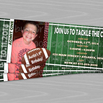 Football Ticket Birthday Party Invitations! Custom Personalized Invitations. 24hr turn around. Choose Your Size 4x6 or 5x7