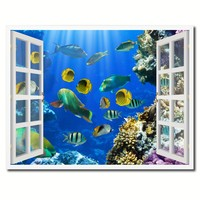 Tropical Island Fish Picture French Window Framed Canvas Print Home Decor Wall Art Collection