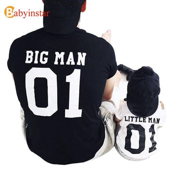 (Big Man & Little Man) Father Son Matching Tops Tees Family Matching Outfits Family Look Creative T-shirt New Arrival