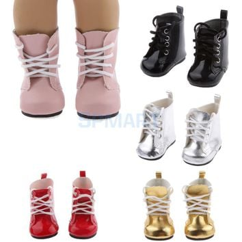 Lace Up PU Martin Boots Shoes for 18inch American Girls Dolls