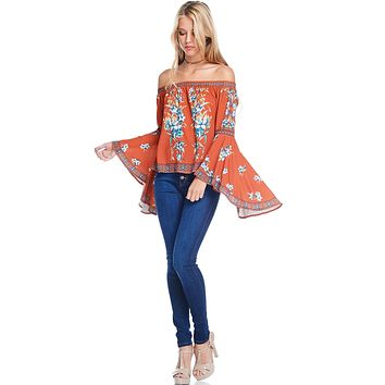 Floral Spice Off Shoulder Top