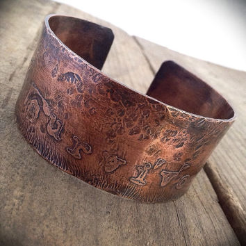 Etched copper cuff:  hammered copper, oxidized copper, rustic copper, Survivor bracelet, rustic cuff,  cuff bracelet, affirmation bracelet