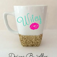Glitter dipped personalized coffee cups- monogram