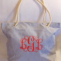 Monogrammed Bag  Personalized Bag  Seersucker Tote Bag  Bridesmaid Gift
