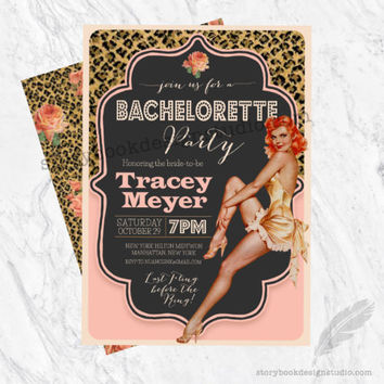 Pin Up Bridal Shower Bachelorette Party Invitations
