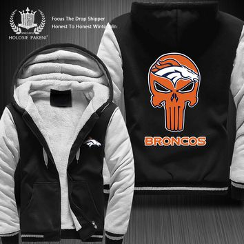 Dropshipping USA Size New Fashion Denver Broncos Team Men Zipper Sweatshirt Fleece Thicken Custom Jacket Coat Hoodies Costume