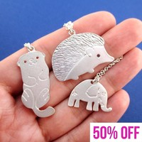 Animals Themed Hedgehog Elephant Sea Otter 3 Piece Necklace Set in Silver
