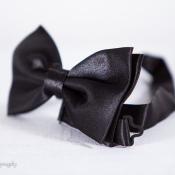 Solid Black Formal Dress Fancy Bow Tie