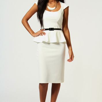 White Sleeveless Peplum Midi Pencil Dress