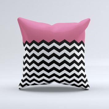 Solid Pink with Black & White Chevron Pattern Ink-Fuzed Decorative Throw Pillow