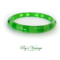 Vintage Green Clear Lucite Bangle Bracelet, Vintage Costume Jewelry