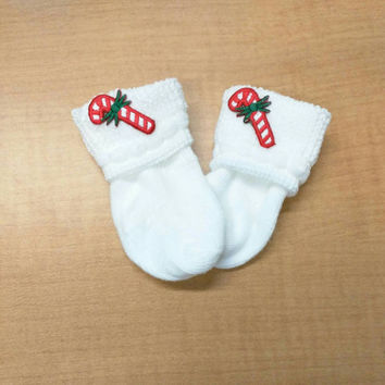 Newborn baby Holiday CANDY CANE socks! Every New Baby Should Have These ! Perfect Keepsake and Gift!