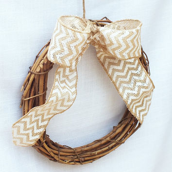 Burlap Pew Bows Or Pew Wreaths Featuring Burlap Ribbon With A Chevron Design Rustic Wedding Rustic Wedding Decor