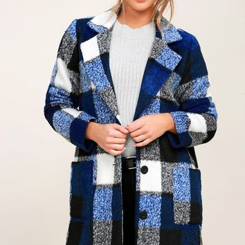 St. Cloud White and Blue Plaid Coat