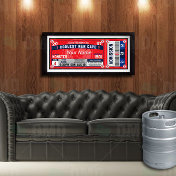 Boston Red Sox Ticket Style Poster - Man Cave Rules - 22wx8.5h