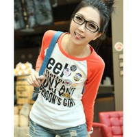 Orange Women Autumn Korean Long Sleeve Letter Print Cotton One Size @WH0366o $8.99 only in eFexcity.com.