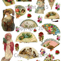 Victorian Fans and Flowers  Collage Sheet  Printed Collage Sheet,  Weddings, Decoupage, Scrapbook, Altered Art, Victorian Scrap