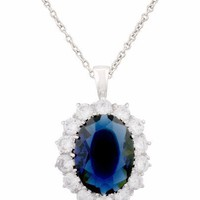 JanKuo Jewelry Silver Tone Royal Family Princess Kate Middleton Engagement Inspired Silver Tone Sapphire C.Z. Necklace For Matching Ring Includes Gift Box