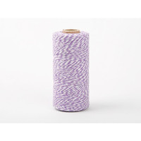 Dailylike Roll Twine cotton string - Violet with white stripe 236yd