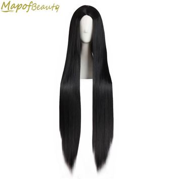 "Long straight hair 40"" 100cm cosplay wig black white brown 4 colors Heat Resistant Synthetic wigs women Ladies party MapofBeauty"