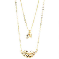 Gem & Cone Charm/Feather Necklace Set - Multi