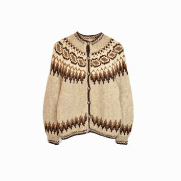 Vintage Nordic Wool Cardigan in Brown & Tan / Icelandic Fair Isle Sweater - women's large