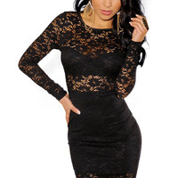 Black High Waisted Long Sleeves Mini Dress Lined with Floral Lace