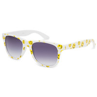 Full Tilt Smiley Classic Sunglasses White Combo One Size For Women 25638616701