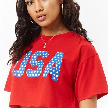 Cropped USA Raw-Cut Graphic Tee