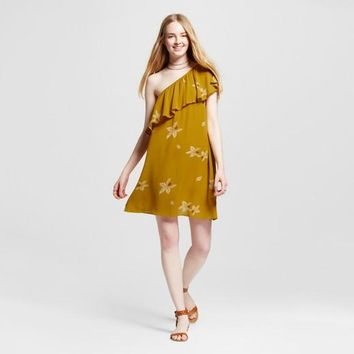 Mossimo Off the Shoulder Dress Yellow Floral