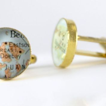 Gold Plated Personalized Map Cufflinks