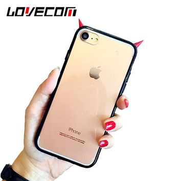 LOVECOM Fashion 3D Horn Demon Phone Case for Iphone 7 7 Plus 6 6S plus Cartoon Couples Clear TPU Back Cover Black Frame Coque