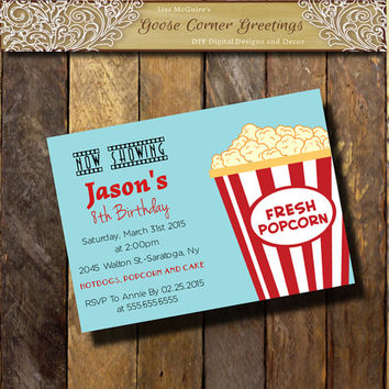 MOVIE NIGHT Kids Birthday Invitation/ Popcorn Invitations/Baby Shower/Any Color/Teal Blue & Red/digital file