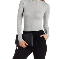 Heather Gray Ribbed Mock Neck Bodysuit by Charlotte Russe