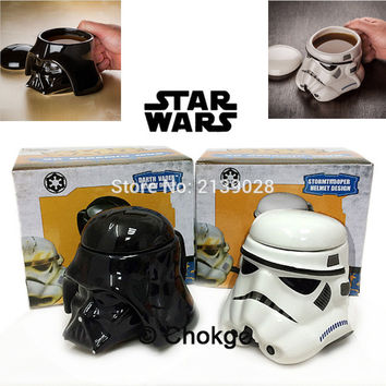 Black and White Star Wars Darth Vader Ceramic Coffee Cup creative 3D Porcelain Mug and Drink Tea Cup personality for friend gift