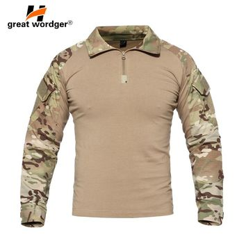 US Camouflage Army T-Shirt Men Soldiers Combat Tactical T Shirt Military Force Multicam Camo Climbing Hiking Long Sleeve T-Shirt