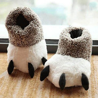 Fashion Thermal Winter Indoor Cotton Padded Plush Cartoon Bear Claw Non-slip Slippers Home Cotton Slippers Floor Shoes