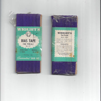 1950s Vintage Wrights Packaged Bias Tape Binding in Fine Percale Cotton, 4 Yard Package, for Aprons, Clothes, Tote, Crafts, Home Sew Notions
