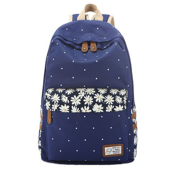 Women's Daisy Flower Canvas Backpack Girls School Bookbag Travel Daypack + Free Gift Cute Elephant Ring