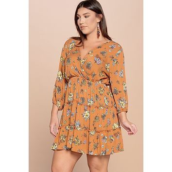 Floral Printed Tiered Wrapped Dress