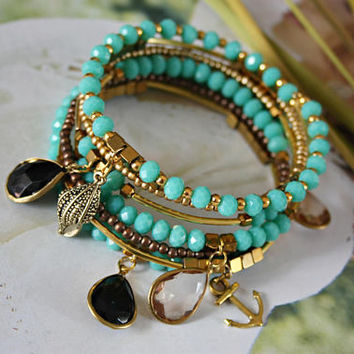 Turquoise gold bracelet Sea shell charm jewelry Unique accessory for bridesmaid beach theme summer wedding Daughter sister mom birthday gift