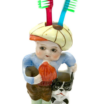 Rare 1930's Japan Porcelain Figural Child's Toothbrush Holder, Boy with a Dog, Hold 3 Toothbrushes & Small Tube Toothpaste, Gift for Home